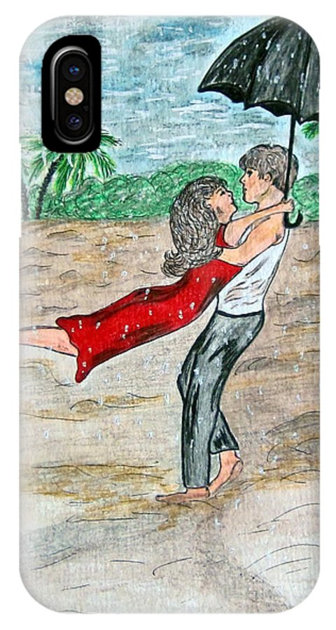 Dancing IPhone X / XS Case featuring the painting Dancing In The Rain On The Beach by Kathy Marrs Chandler