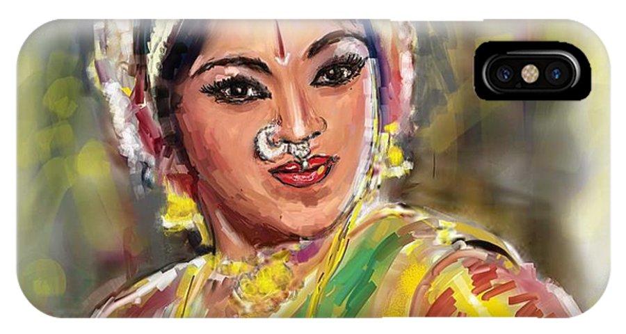 Padmini IPhone X Case featuring the painting Dancing Padmini by Usha Shantharam
