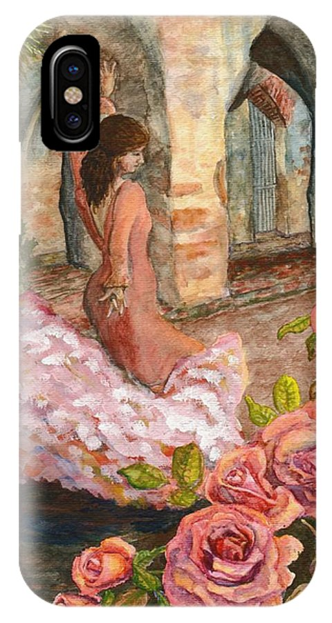 Flamenco Dancer IPhone Case featuring the painting Dancing Rose by Mona Davis