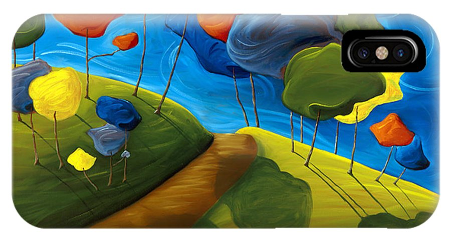 Landscape IPhone X Case featuring the painting Dancing Shadows by Richard Hoedl