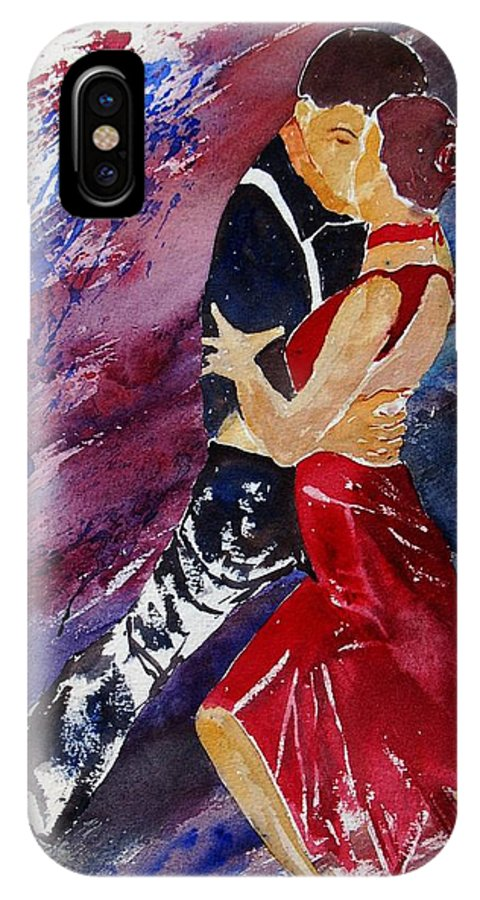 Tango IPhone X Case featuring the painting Dancing Tango by Pol Ledent