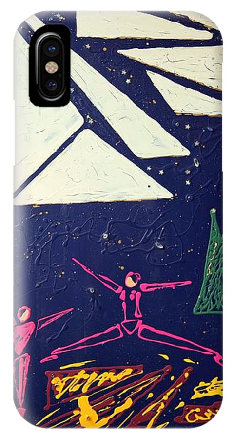 Dancers IPhone X / XS Case featuring the mixed media Dancing Under The Starry Skies by J R Seymour