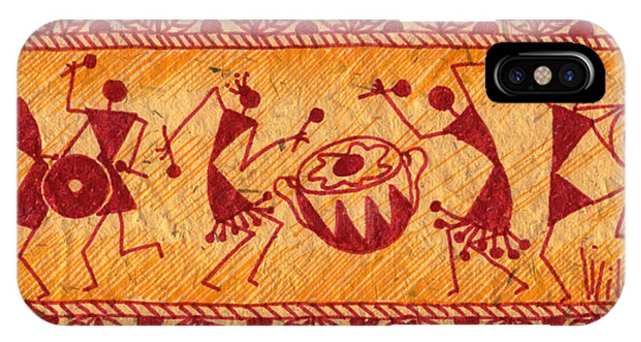 Warli Paintings Paintings IPhone X Case featuring the painting Dancing Warlis by Subhash Limaye
