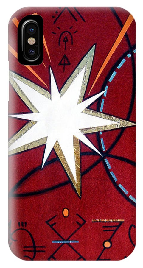 Dark IPhone X Case featuring the painting Magical Star And Symbols. Part 1 by Sofia Metal Queen