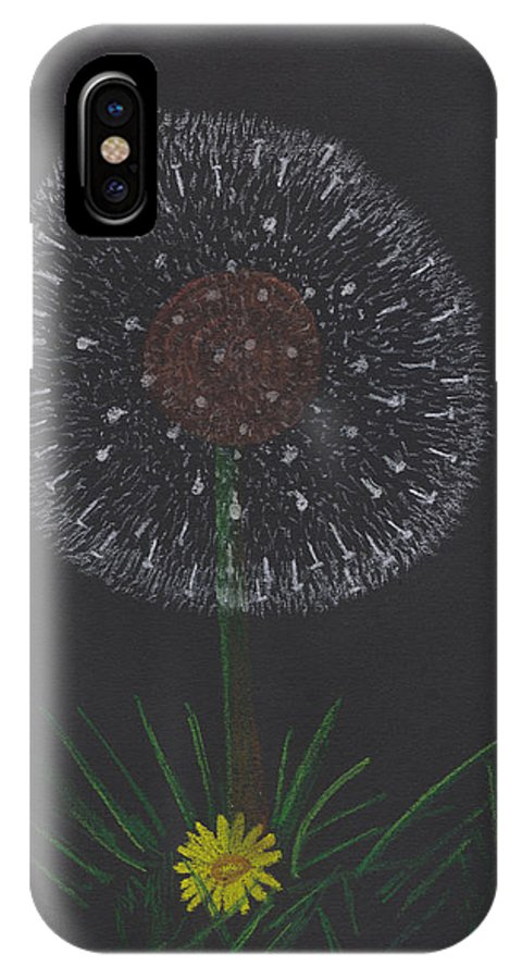 Dandelion IPhone X Case featuring the pastel Dandelion by M Valeriano