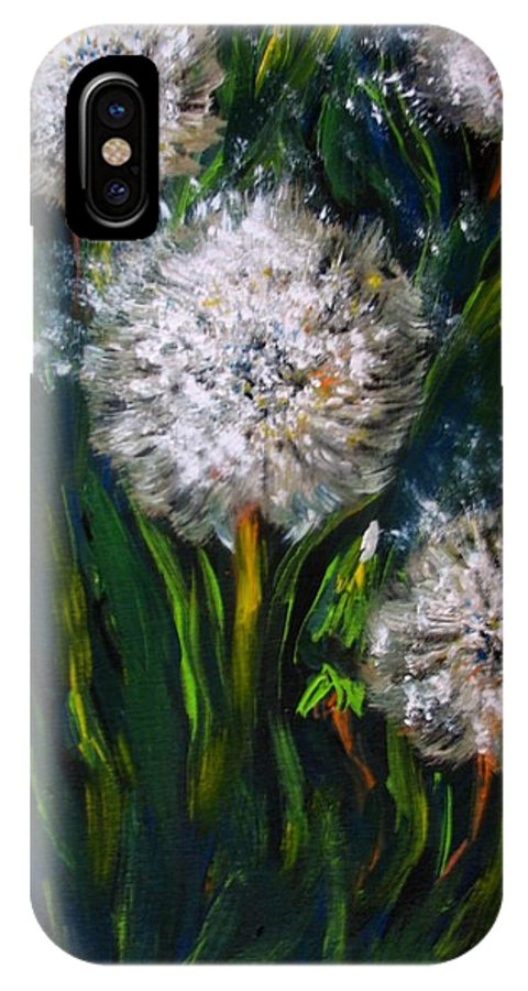 Flower Art IPhone X Case featuring the painting Dandelions Acrylic Painting by Natalja Picugina