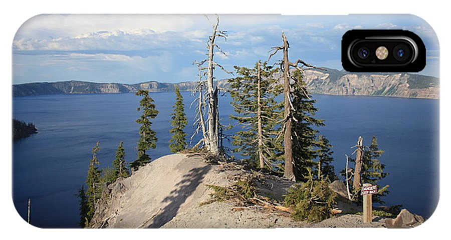 Crater Lake IPhone X Case featuring the photograph Dangerous Slope At Crater Lake by Carol Groenen