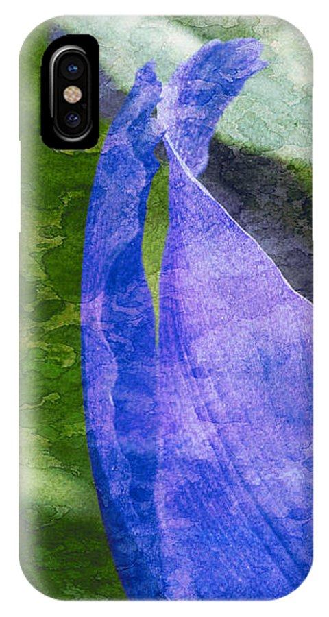 Iris IPhone X Case featuring the photograph Dappled Petals by Arlene Carmel
