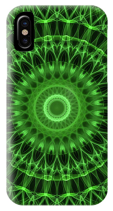 Mandala IPhone X Case featuring the digital art Dark And Light Green Mandala by Jaroslaw Blaminsky