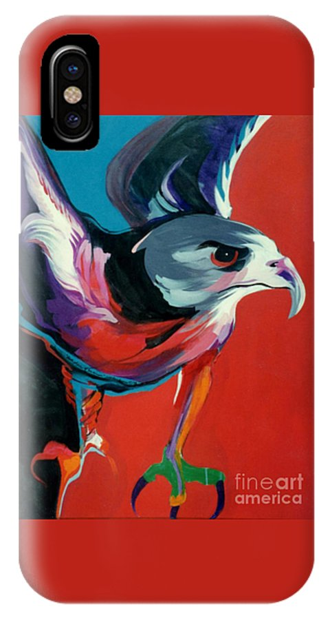 Raptor IPhone X Case featuring the painting Dark Phase Of Swainson by Marlene Burns