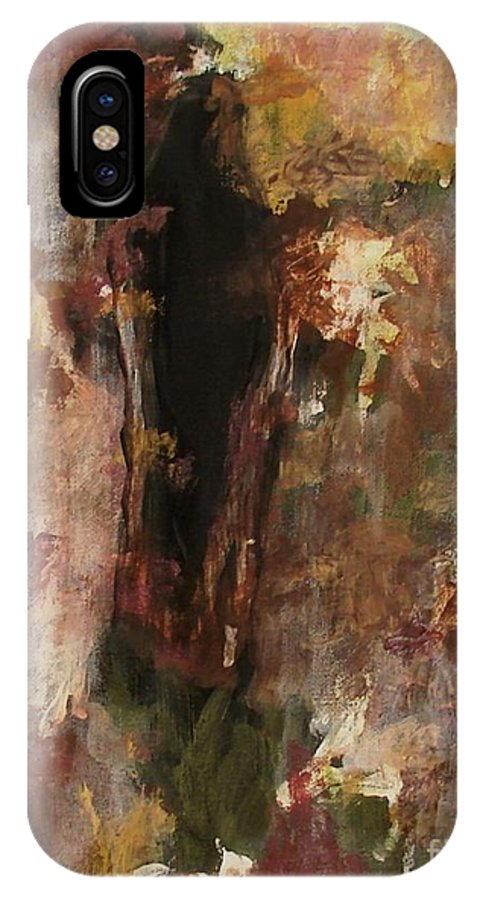 Abstract IPhone X Case featuring the painting Dark Presence by Itaya Lightbourne