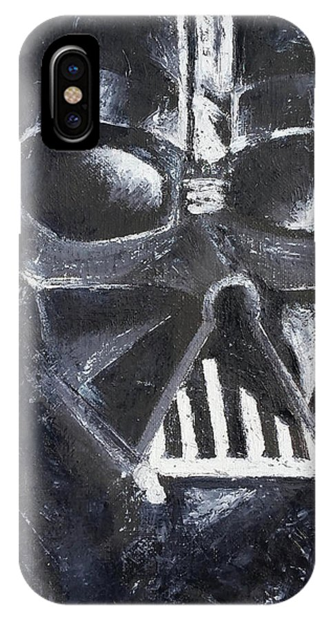 IPhone X Case featuring the painting Dark Side by Simon Salazar