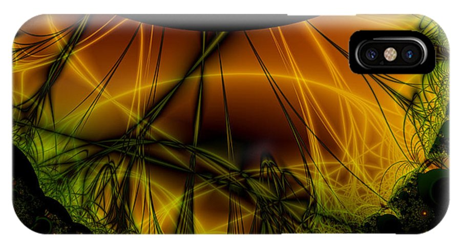 Abstract IPhone X Case featuring the digital art Dark Woods by Frederic Durville