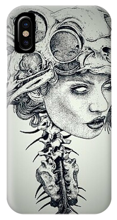 Darkness IPhone X Case featuring the drawing Darkness Of Women by Yudhit Hadi