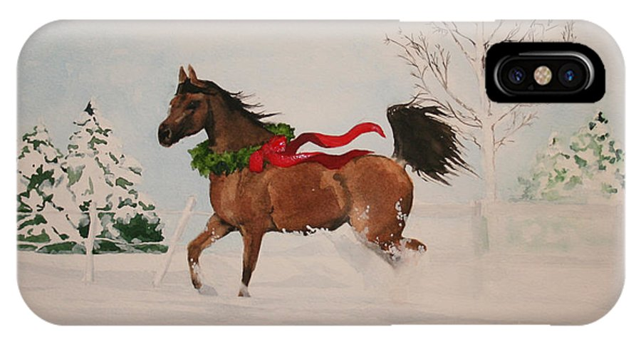 Horse IPhone X Case featuring the painting Dashing Thru The Snow by Jean Blackmer