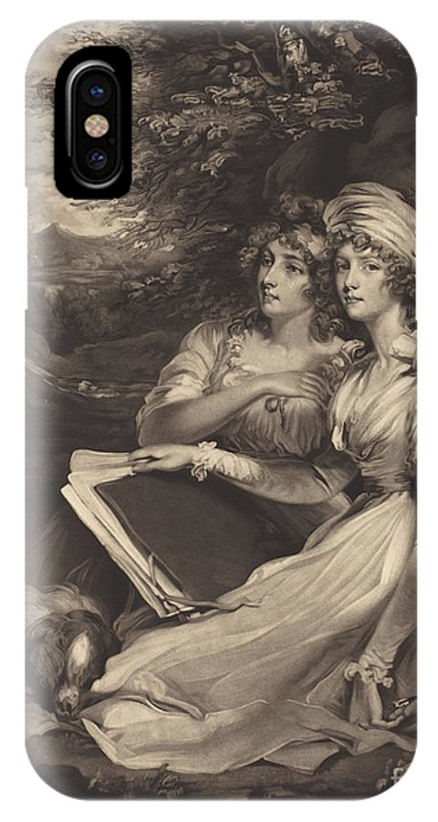 IPhone X Case featuring the drawing Daughters Of Sir Thomas Frankland Bart (the Sisters) by William Ward After John Hoppner