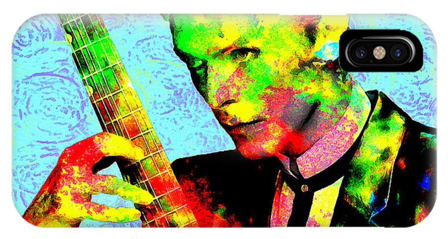 Musician IPhone X / XS Case featuring the painting David Bowie by Galeria Trompiz
