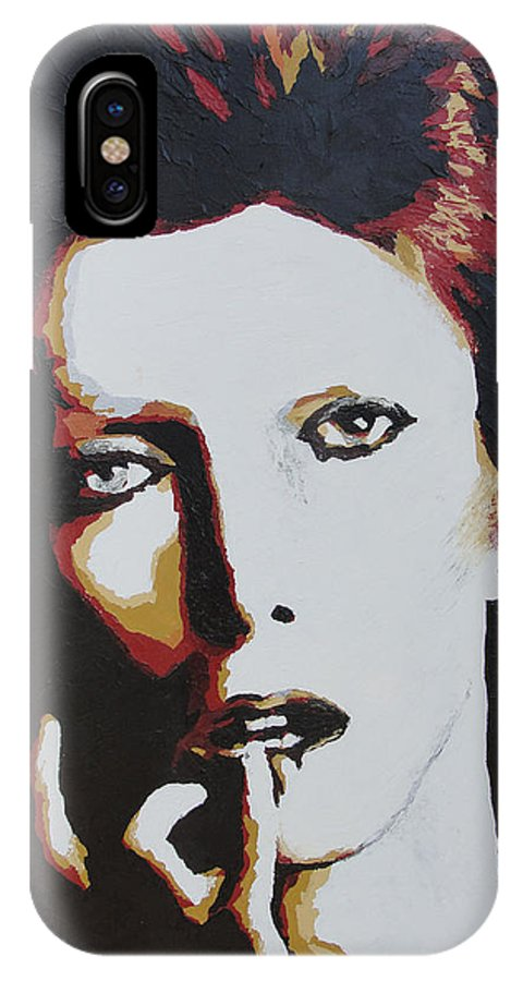 David Bowie IPhone X Case featuring the painting David Bowie by Ricklene Wren