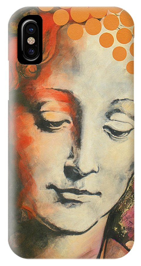 Figurative IPhone X Case featuring the painting Davinci's Head by Jean Pierre Rousselet