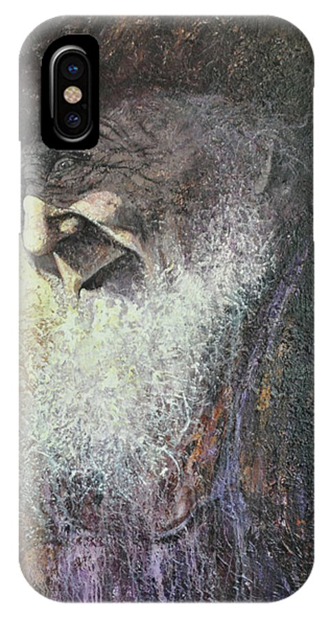 Amish IPhone X Case featuring the painting Dawdy by Ron Lace