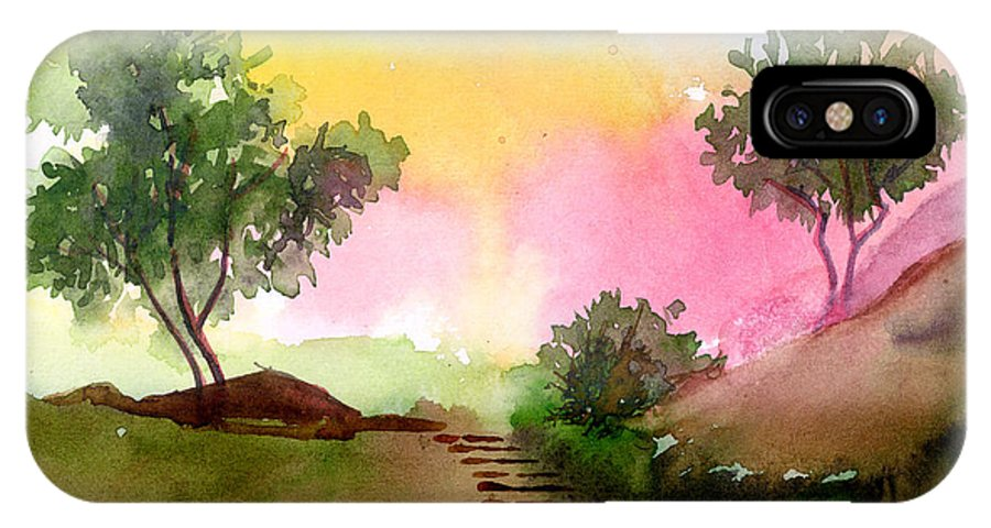Landscape IPhone X Case featuring the painting Dawn by Anil Nene