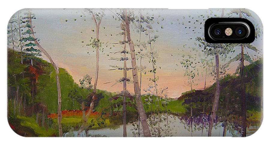 Landscape IPhone X Case featuring the painting Dawn By The Pond by Lilibeth Andre