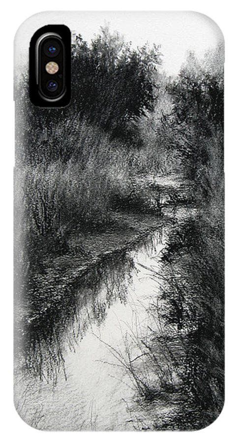 Charcoal IPhone X Case featuring the drawing Dawn Marsh by Keith Burgess