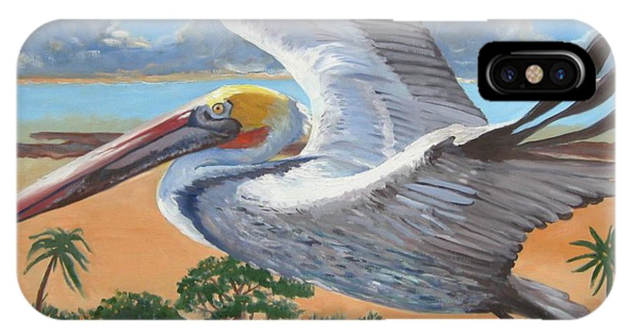 Flying Pelican IPhone Case featuring the painting Dawn Patrol by D T LaVercombe