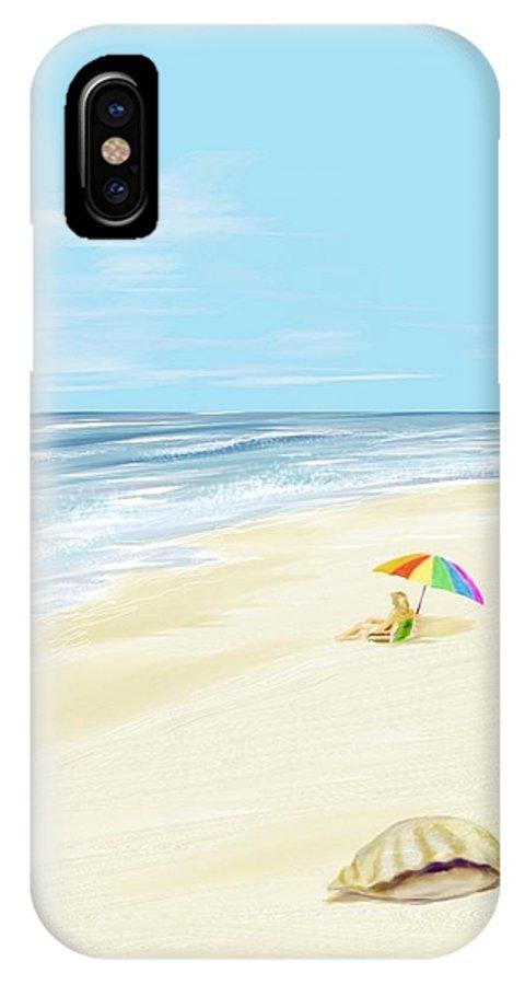 Beach Summer Sun Sand Waves Shells IPhone Case featuring the digital art Day At The Beach by Veronica Jackson