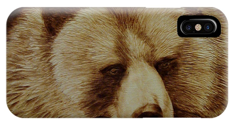 Pyrography; Woodburning; Sepia; Grizzly; Bear; Log; IPhone Case featuring the pyrography Day Dreamer by Jo Schwartz