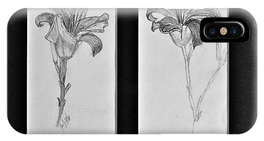 Pencil Sketches IPhone X Case featuring the drawing Day lilies by Peggy King