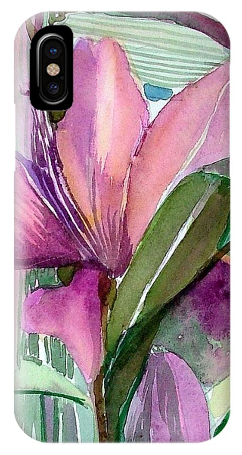 Flower IPhone X Case featuring the painting Day Lily Pink by Mindy Newman