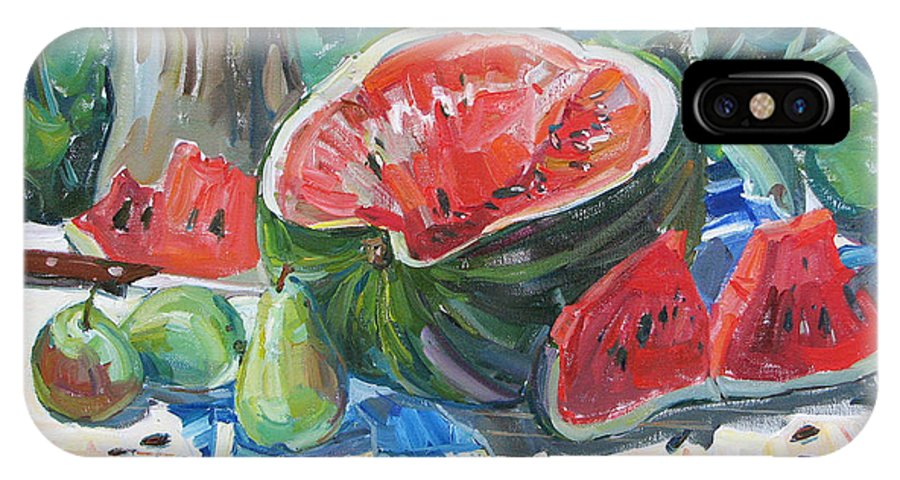 Summer Still-life IPhone X Case featuring the painting Day Of A Water-melon by Juliya Zhukova