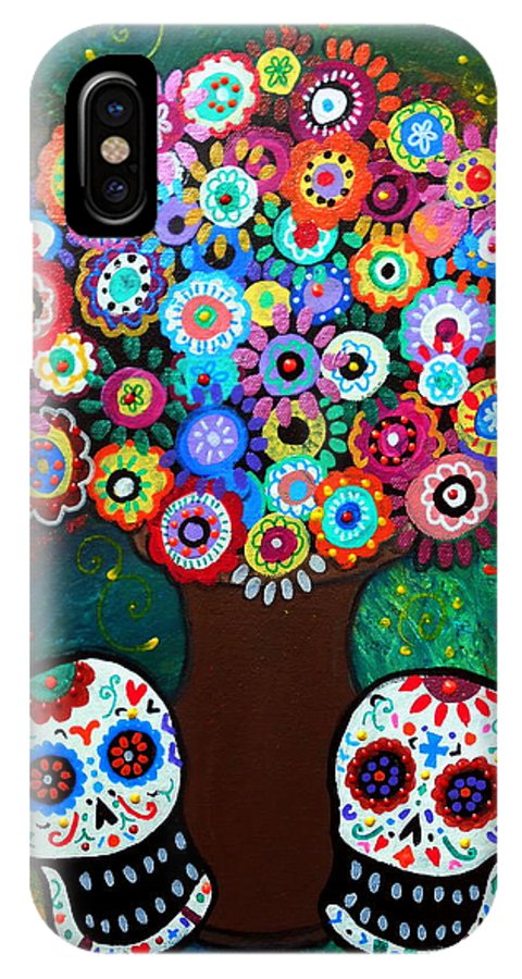 Day Of The Dead IPhone X Case featuring the painting Day Of The Dead Love Offering by Pristine Cartera Turkus