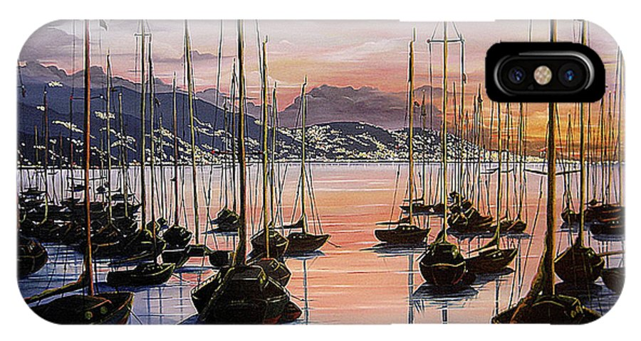 Seascape Painting Yacht Painting Harbour Painting Port Of Spain Trinidad And Tobago Painting Caribbean Painting Tropical Seascape Yachts  Painting Boats Dawn Breaking Greeting Card Painting IPhone X Case featuring the painting Daybreak by Karin Dawn Kelshall- Best
