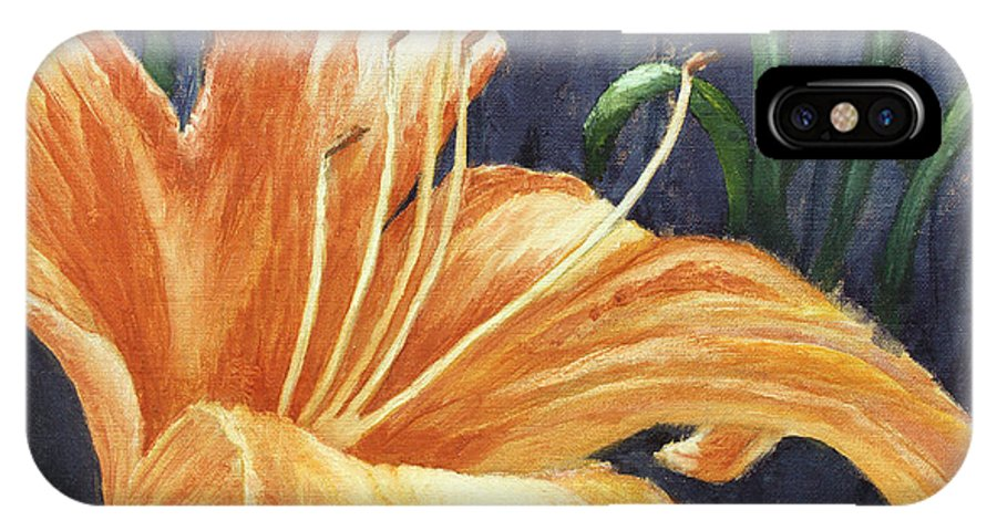 Flower IPhone X Case featuring the painting Daylily by Todd Blanchard