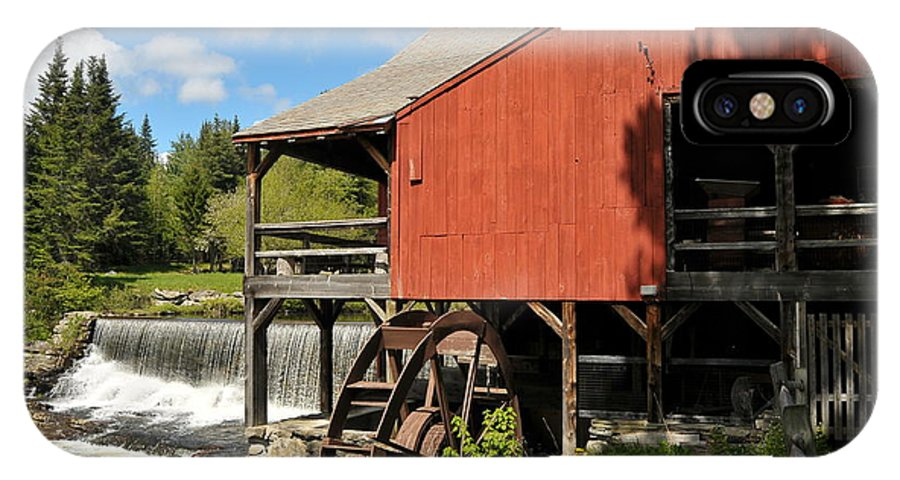 New England Sawmill Vermont History Historical Red Blue Spring Peace Peaceful Water Warefall Beautiful Scenic Tree Trees Mill Mills IPhone X Case featuring the photograph Days Gone By by Catherine Reusch Daley