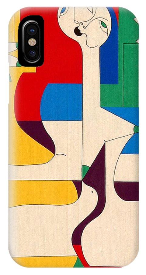 Women Birds Music Guitar Flower Humor Voice IPhone Case featuring the painting De Sopraan by Hildegarde Handsaeme