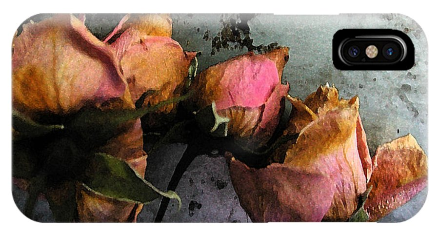Flower IPhone X Case featuring the digital art Dead Roses 2 by Kathi Shotwell