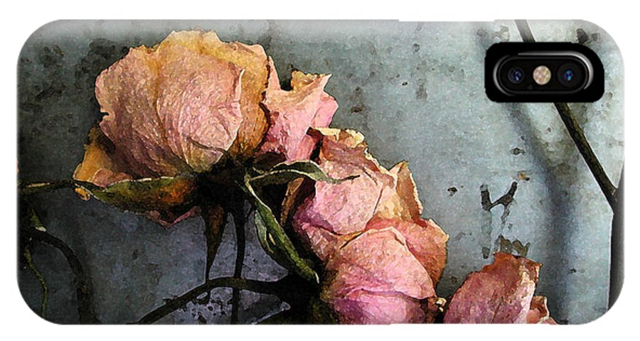 Flower IPhone X Case featuring the digital art Dead Roses 3 by Kathi Shotwell