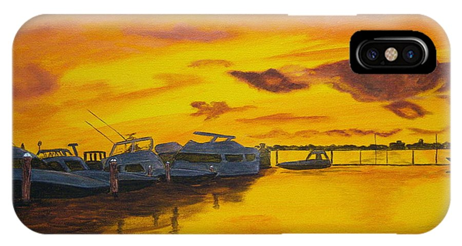 Sunset IPhone X Case featuring the painting Deans Sunset by Nancy Nuce