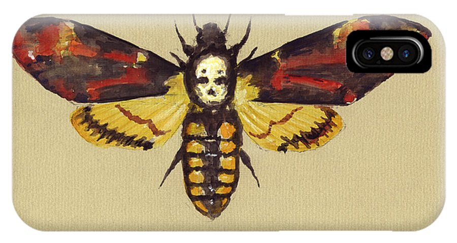 Death Head Hawk Moth IPhone X Case featuring the painting Death Head Hawk Moth by Juan Bosco