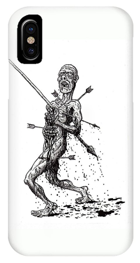Dark IPhone X Case featuring the drawing Death March by Tobey Anderson