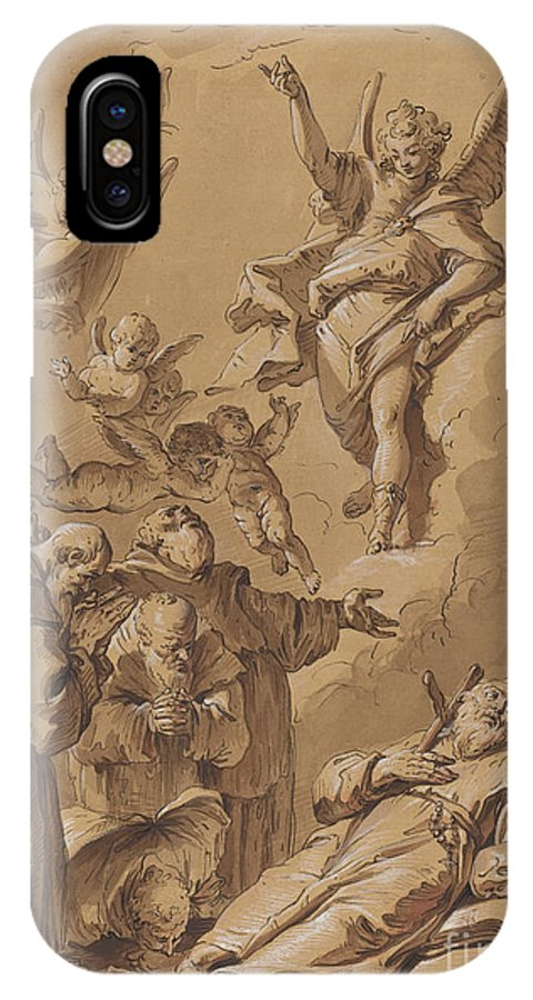 IPhone X Case featuring the drawing Death Of A Holy Friar by Follower Of Francesco Fontebasso