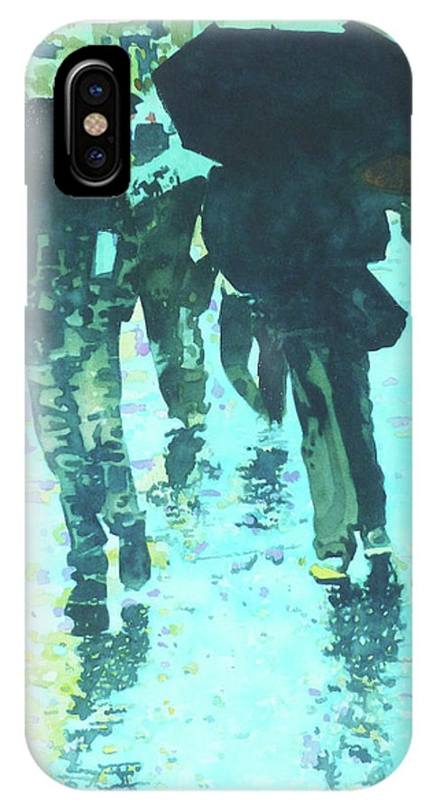 Cityscape IPhone X Case featuring the painting December Rain In Nurnberg by Susanna Spann