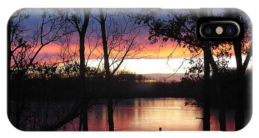 Red Gold Blue Lake Trees IPhone X Case featuring the photograph December Sunset by Luciana Seymour