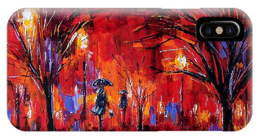 Umbrellas IPhone X Case featuring the painting Deep Red by Debra Hurd