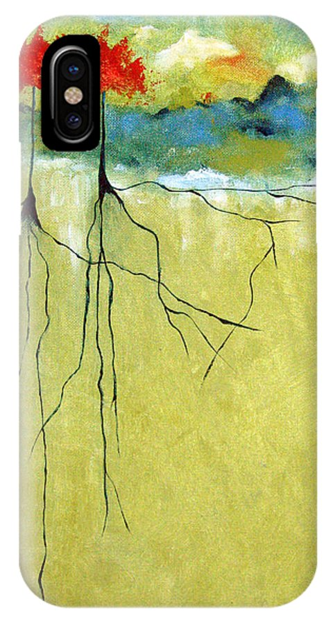 Abstract IPhone X Case featuring the painting Deep Roots by Ruth Palmer