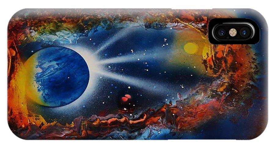 Cavern IPhone X Case featuring the painting Deep Space Cavern by Mario Carta