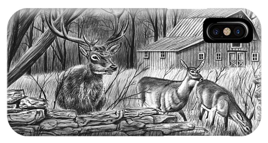 Deer Field IPhone X Case featuring the drawing Deer Field by Peter Piatt